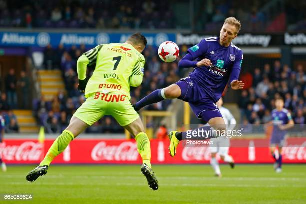 Lukasz Teodorczyk forward of RSC Anderlecht and Daniel Vukovic goalkeeper of KRC Genk during the Jupiler Pro League match between RSC Anderlecht and...