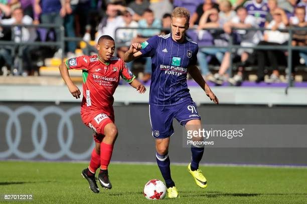 Lukasz Teodorczyk forward of RSC Anderlecht and Ernest Andile Jali midfielder of KV Oostende during the Jupiler Pro League match between RSC...