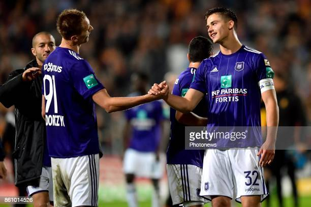 Lukasz Teodorczyk forward of RSC Anderlecht and Leander Dendoncker midfielder of RSC Anderlecht celebrate during the Jupiler Pro League match between...
