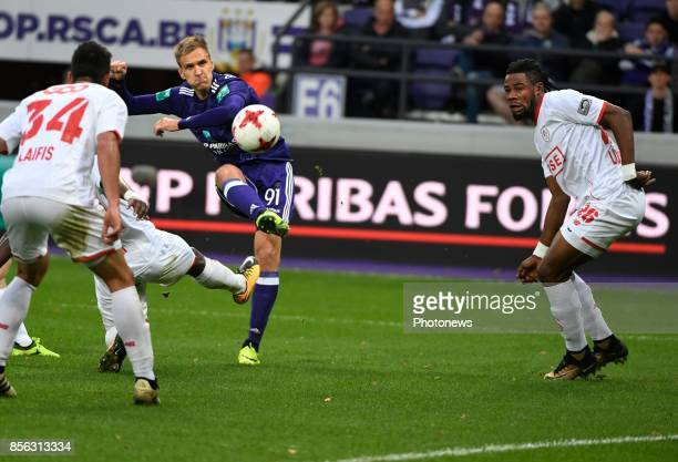 Lukasz Teodorczyk forward of RSC Anderlecht during the Jupiler Pro League match between RSC Anderlecht and Standard Liège on October 01 2017 in...