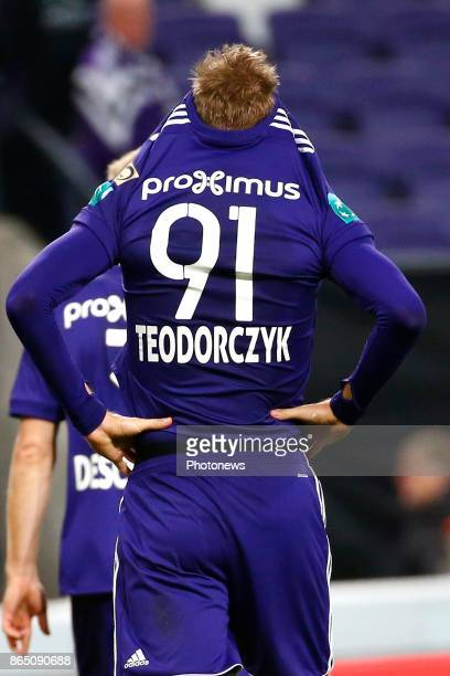 Lukasz Teodorczyk forward of RSC Anderlecht during the Jupiler Pro League match between RSC Anderlecht and Krc Genk on October 22 2017 in Anderlecht...