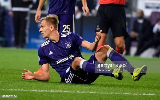 Lukasz Teodorczyk forward of RSC Anderlecht looks dejected during the Champions League Group B match between RSC Anderlecht and Paris SaintGermain on...