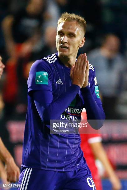 Lukasz Teodorczyk forward of RSC Anderlecht pictured during the Jupiler Pro League match between Royal Antwerp FC and Rsc Anderlecht in Bosuil...