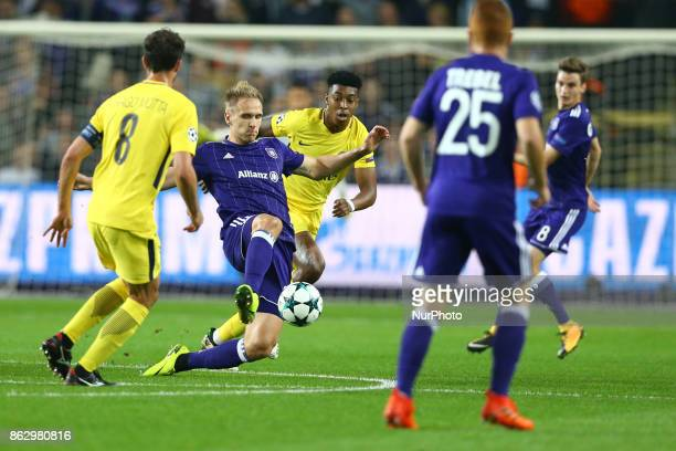 Lukasz Teodorczyk of Anderlecht during the UEFA Champions League Group B football match between RSC Anderlecht and Paris SaintGermain at the Constant...
