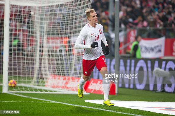 Lukasz Teodorczyk of Poland during the international friendly football match Poland vs Slovenia on November 14 2016 in Wroclaw