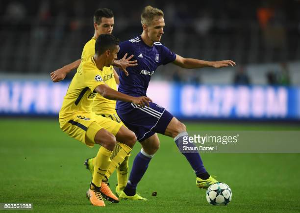 Lukasz Teodorczyk of RSC Anderlecht holds up the ball the ball during the UEFA Champions League group B match between RSC Anderlecht and Paris...