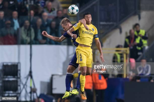Lukasz Teodorczyk of RSC Anderlecht Marcos Aoas Correa of Paris SaintGermain during the UEFA Champions League group B match between RSC Anderlecht...