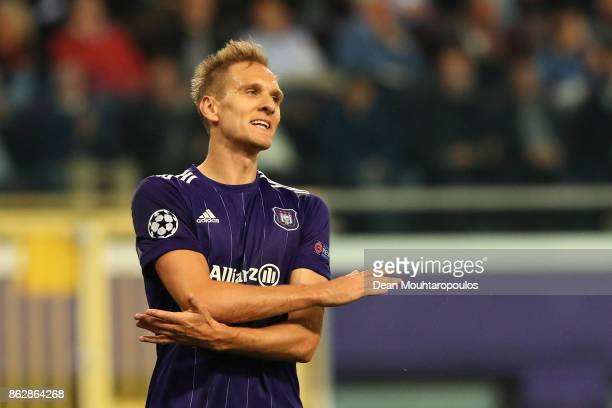 Lukasz Teodorczyk of RSC Anderlecht reacts during the UEFA Champions League group B match between RSC Anderlecht and Paris SaintGermain at Constant...