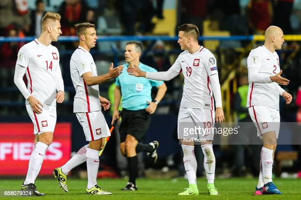 Lukasz Teodorczyk Thiago Cionek Piotr Zielinski and Michal Pazdan of Poland react during the FIFA World Cup 2018 qualification football match between...
