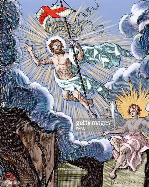 Luke 24 Resurrection of Jesus Colored engraving