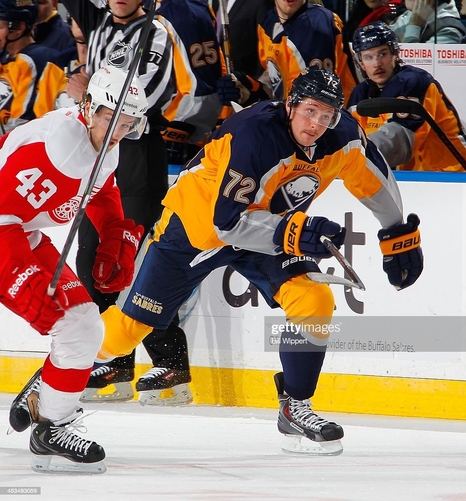 Luke Adam of the Buffalo Sabres skates against the Detroit Red Wings on November 24 2013 at the First Niagara Center in Buffalo New York