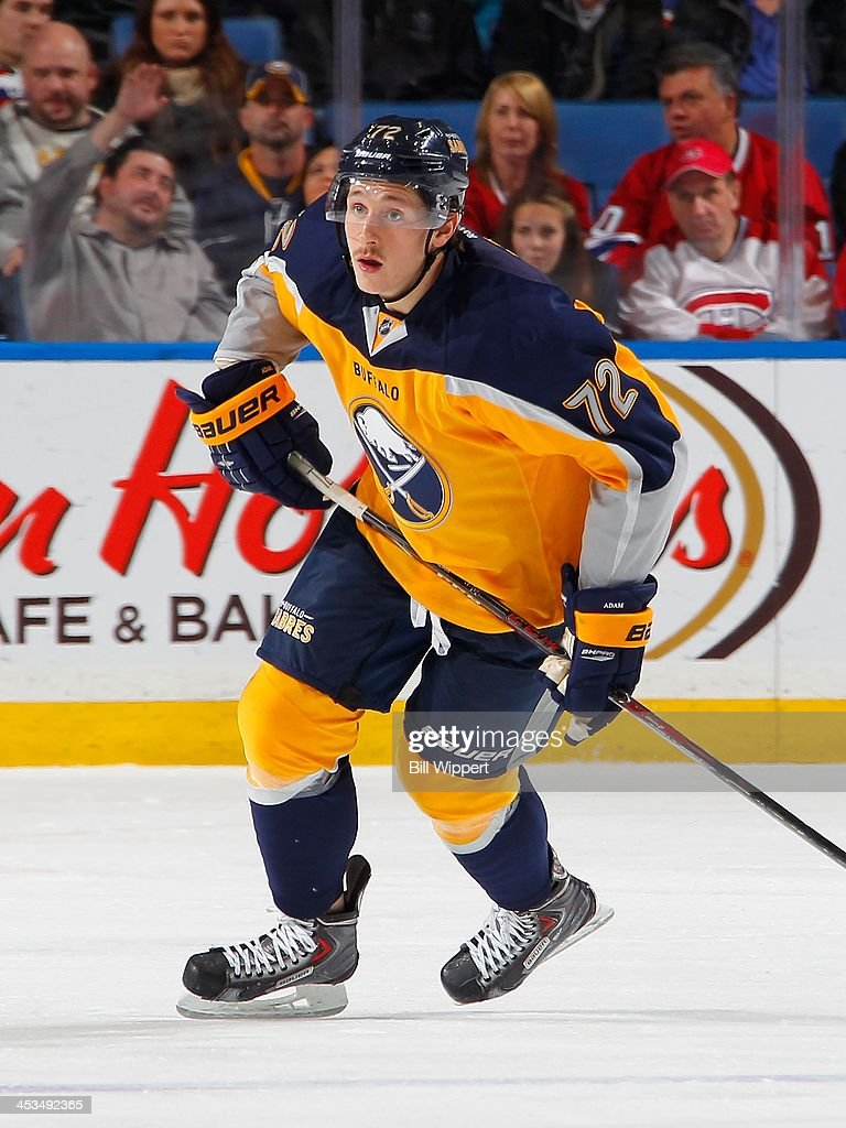 <a gi-track='captionPersonalityLinkClicked' href=/galleries/search?phrase=Luke+Adam&family=editorial&specificpeople=4668909 ng-click='$event.stopPropagation()'>Luke Adam</a> #72 of the Buffalo Sabres skates against the Montreal Canadiens on November 27, 2013 at the First Niagara Center in Buffalo, New York.
