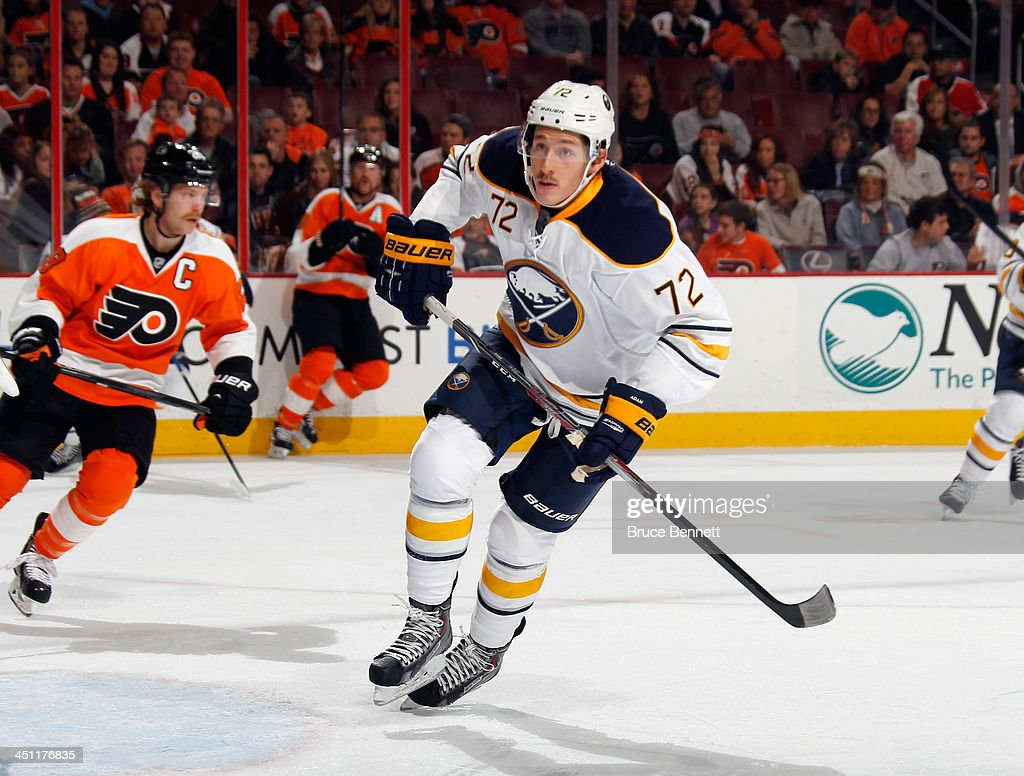Luke Adam of the Buffalo Sabres skates in his first game of the season against the Philadelphia Flyers at the Wells Fargo Center on November 21 2013...