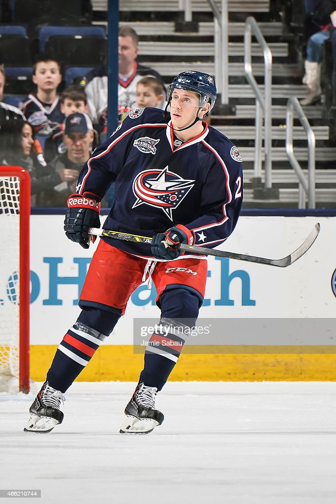 Luke Adam of the Columbus Blue Jackets skates against the Edmonton Oilers on March 13 2015 at Nationwide Arena in Columbus Ohio