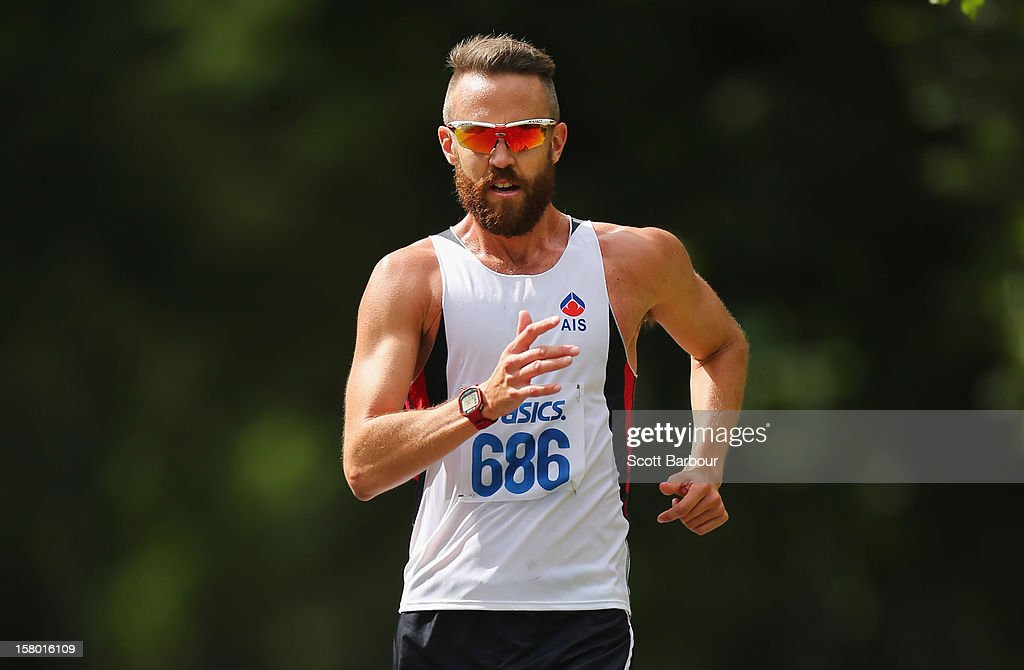 Luke Adams of New South Wales competes in the Mens 50000 metre Race Walk Championship Open during the 50km race walking championships at Fawkner Park on December 9, 2012 in Melbourne, Australia.