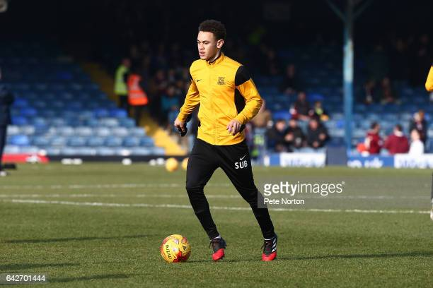 Luke Amos of Southend United in action during the pre match warm up prior to the Sky Bet League One match between Southend United and Northampton...