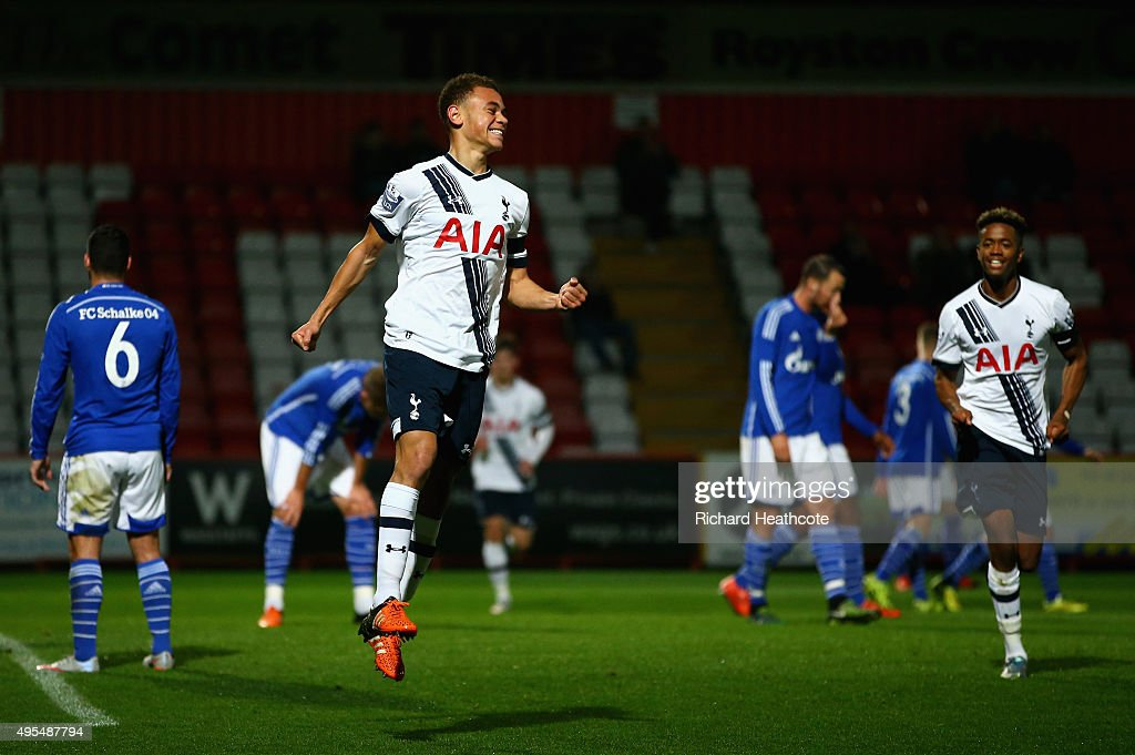 Luke Amos of Spurs celebrates scoring the opening goal during the Barclays U21 Premier League International Cup match between Tottenham Hotspur U21...