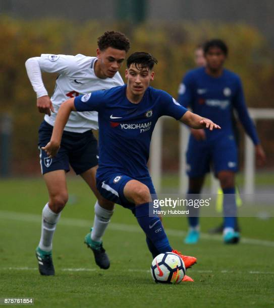 Luke Amos of Tottenham Hotspur and Ruben Sammut of Chelsea in action during a Premier League 2 match between Tottenham Hotspur and Chelsea at...