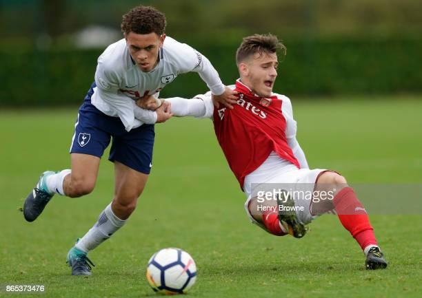 Luke Amos of Tottenham Hotspur and Vlad Dragomir of Arsenal during the Premier League 2 game between Tottenham Hotspur and Arsenal on October 23 2017...