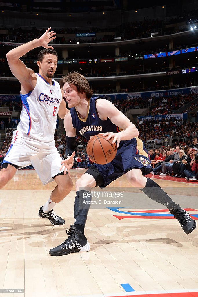 <a gi-track='captionPersonalityLinkClicked' href=/galleries/search?phrase=Luke+Babbitt&family=editorial&specificpeople=5122155 ng-click='$event.stopPropagation()'>Luke Babbitt</a> #8 of the New Orleans Pelicans drives to the basket against the against the Los Angeles Clippers at STAPLES Center on March 1, 2014 in Los Angeles, California.