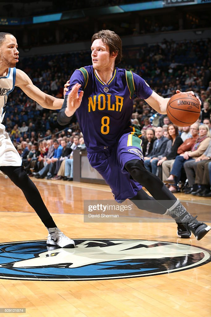<a gi-track='captionPersonalityLinkClicked' href=/galleries/search?phrase=Luke+Babbitt&family=editorial&specificpeople=5122155 ng-click='$event.stopPropagation()'>Luke Babbitt</a> #8 of the New Orleans Pelicans drives to the basket against the Minnesota Timberwolves during the game on February 8, 2016 at Target Center in Minneapolis, Minnesota.