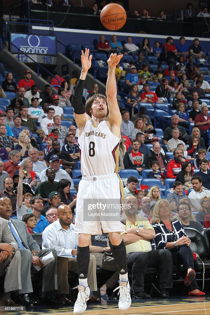 <a gi-track='captionPersonalityLinkClicked' href=/galleries/search?phrase=Luke+Babbitt&family=editorial&specificpeople=5122155 ng-click='$event.stopPropagation()'>Luke Babbitt</a> #8 of the New Orleans Pelicans takes a shot against the Sacramento Kings during an NBA game on March 31, 2014 at the Smoothie King Center in New Orleans, Louisiana..