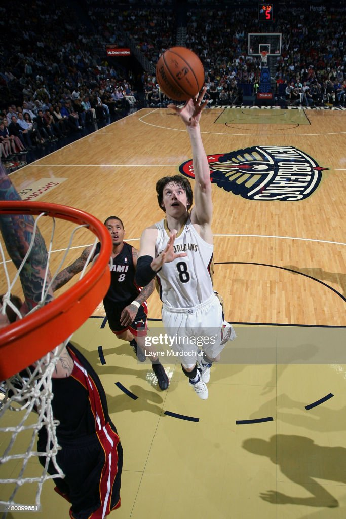 Luke Babbitt #8 of the New Orleans Pelicans takes a shot against the Miami Heat on March 22, 2014 at the Smoothie King Center in New Orleans, Louisiana.