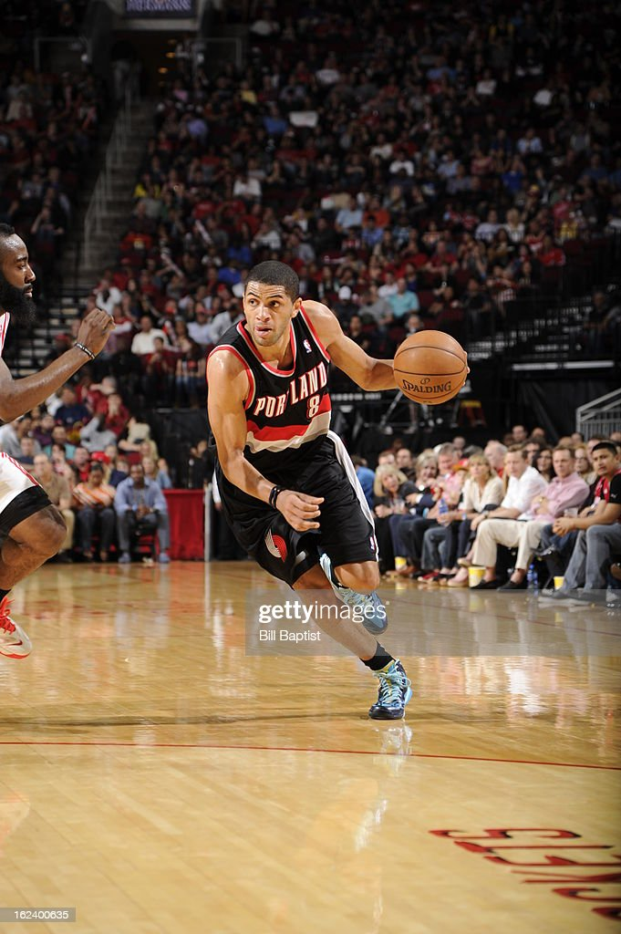 <a gi-track='captionPersonalityLinkClicked' href=/galleries/search?phrase=Luke+Babbitt&family=editorial&specificpeople=5122155 ng-click='$event.stopPropagation()'>Luke Babbitt</a> #8 of the Portland Trail Blazers drives to the rim against the Houston Rockets on February 8, 2013 at the Toyota Center in Houston, Texas.