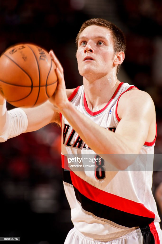 Luke Babbitt #8 of the Portland Trail Blazers shoots a free-throw against the Brooklyn Nets on March 27, 2013 at the Rose Garden Arena in Portland, Oregon.