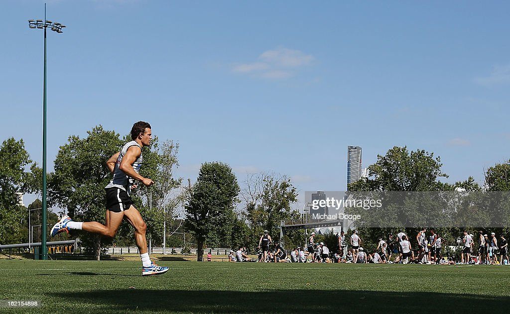 <a gi-track='captionPersonalityLinkClicked' href=/galleries/search?phrase=Luke+Ball&family=editorial&specificpeople=208157 ng-click='$event.stopPropagation()'>Luke Ball</a> does some run throughs away from the team during a Collingwood Magpies AFL training session at Gosch's Paddock on February 20, 2013 in Melbourne, Australia.