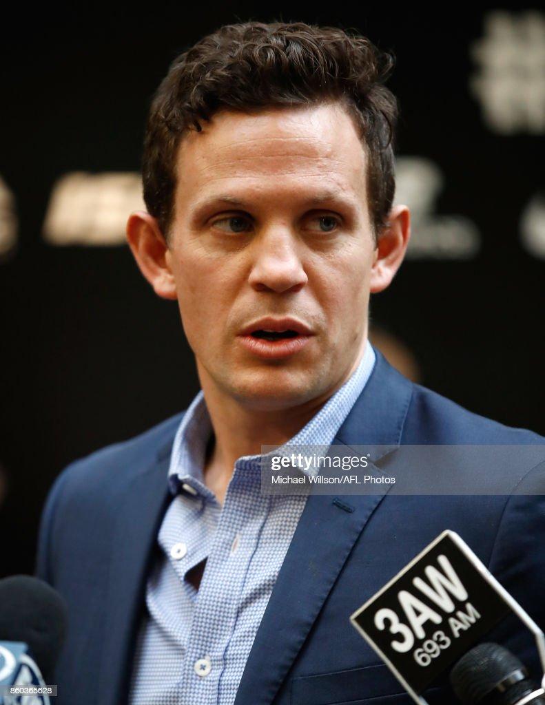 Luke Ball speaks to the media during the Australian International Rules Series Team Announcement at AFL House on October 12, 2017 in Melbourne, Australia.