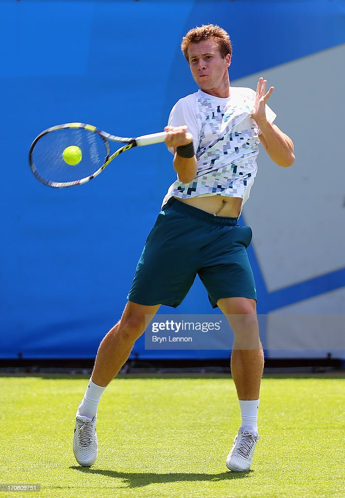 <a gi-track='captionPersonalityLinkClicked' href=/galleries/search?phrase=Luke+Bambridge&family=editorial&specificpeople=7070107 ng-click='$event.stopPropagation()'>Luke Bambridge</a> of Great Britain in action during day one of the Aegon Interantional at Devonshire Park on June 15, 2013 in Eastbourne, England.