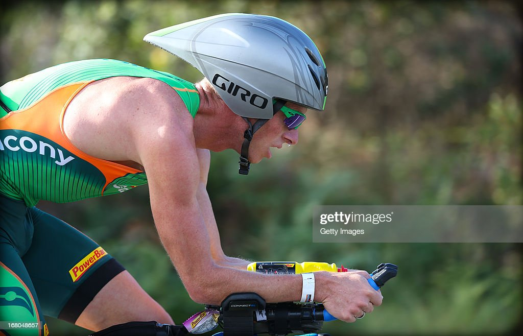 <a gi-track='captionPersonalityLinkClicked' href=/galleries/search?phrase=Luke+Bell+-+Triathlete&family=editorial&specificpeople=15201001 ng-click='$event.stopPropagation()'>Luke Bell</a> of Australia leading in the Port Macquarie round of the 2013 Ironman Australia series on May 5, 2013 in Port Macquarie, Australia.