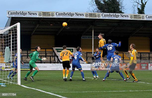 Luke Berry of Cambridge United scores during the Sky Bet League Two match between Cambridge United and AFC Wimbledon at Abbey Stadium on January 2...