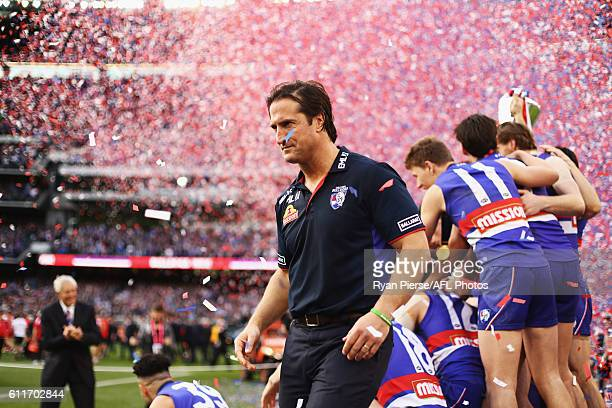 Luke Beveridge Coach of the Bulldogs celebrates after the 2016 Toyota AFL Grand Final match between the Sydney Swans and the Western Bulldogs at the...