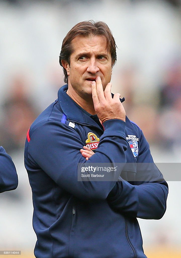 Luke Beveridge, coach of the Bulldogs looks on during the round 10 AFL match between the Collingwood Magpies and the Western Bulldogs at Melbourne Cricket Ground on May 29, 2016 in Melbourne, Australia.