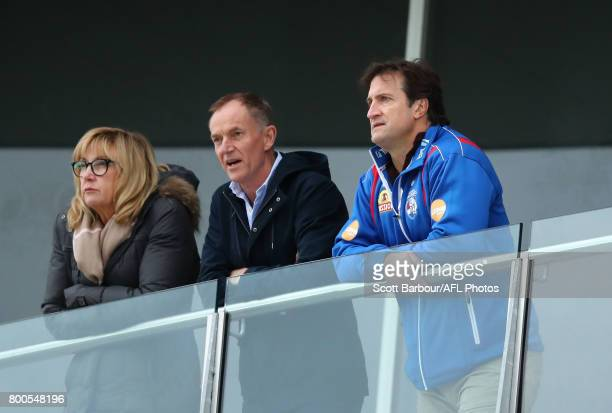 Luke Beveridge coach of the Bulldogs looks on during the round 10 VFL match between the Footscray Bulldogs and the Werribee Tigers at Whitten Oval on...