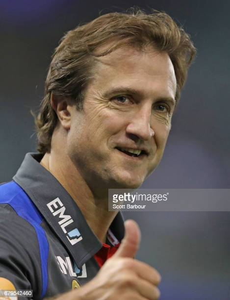 Luke Beveridge coach of the Bulldogs looks on during the round seven AFL match between the Western Bulldogs and the Richmond Tigers at Etihad Stadium...