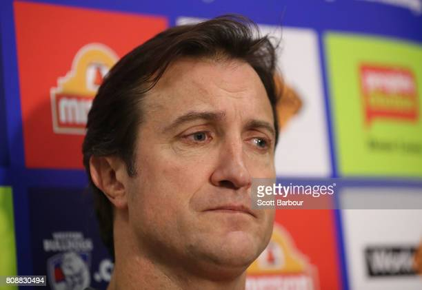 Luke Beveridge coach of the Bulldogs speaks to media during a Western Bulldogs AFL training session at Whitten Oval on July 5 2017 in Melbourne...