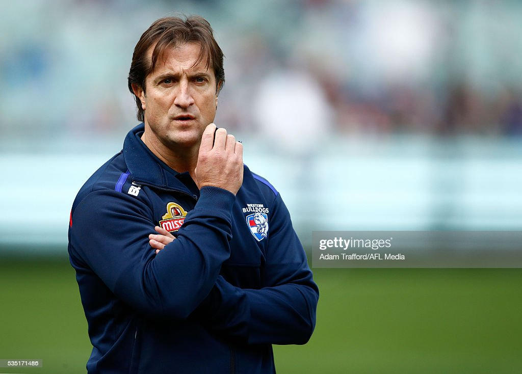 Luke Beveridge, Senior Coach of the Bulldogs looks on during the 2016 AFL Round 10 match between the Collingwood Magpies and the Western Bulldogs at the Melbourne Cricket Ground on May 29, 2016 in Melbourne, Australia.
