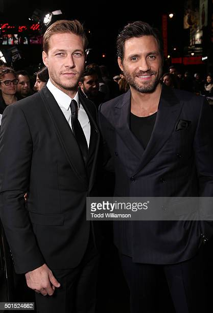 Luke Bracey and Edgar Ramirez attend the premiere of Warner Bros Pictures and Alcon Entertainment's 'Point Break' at TCL Chinese Theatre on December...