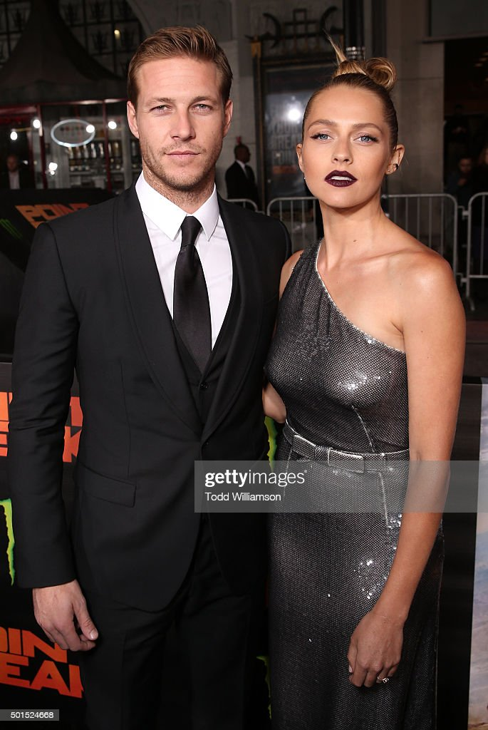 Luke Bracey and Teresa Palmer attend the premiere of Warner Bros. Pictures and Alcon Entertainment's 'Point Break' at TCL Chinese Theatre on December 15, 2015 in Hollywood, California.
