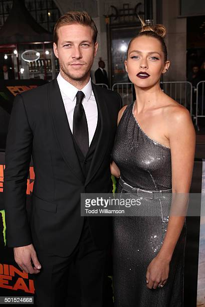Luke Bracey and Teresa Palmer attend the premiere of Warner Bros Pictures and Alcon Entertainment's 'Point Break' at TCL Chinese Theatre on December...