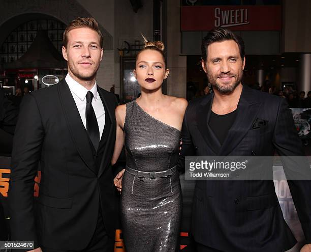 Luke Bracey Teresa Palmer and Edgar Ramirez attend the premiere of Warner Bros Pictures and Alcon Entertainment's 'Point Break' at TCL Chinese...