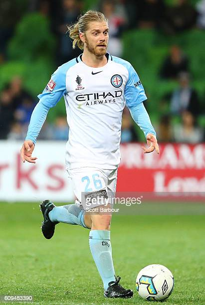 Luke Brattan of City controls the ball during the FFA Cup Quarter Final between Melbourne and Western Sydney at AAMI Park on September 21 2016 in...