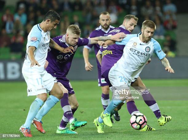 Luke Brattan of Melbourne City controls the ball during the ALeague Elimination Final match between Melbourne City FC and the Perth Glory at AAMI...