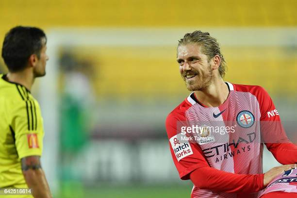 Luke Brattan of Melbourne City during the round 20 ALeague match between the Wellington and Melbourne City at Westpac Stadium on February 18 2017 in...