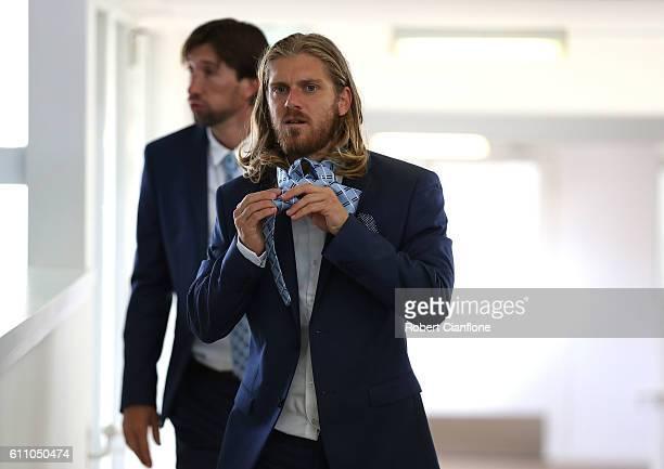 Luke Brattan of Melbourne City FC arrives for a team photo on September 29 2016 in Melbourne Australia