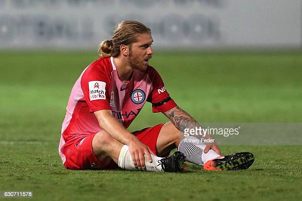 Luke Brattan of Melbourne City looks dejected after drawing to Central Coast Mariners during the round 13 ALeague match between the Central Coast...