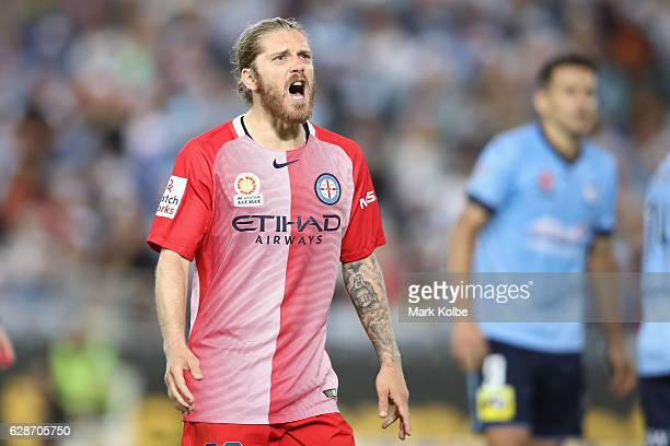 Luke Brattan of Melbourne City makes his point to the assistant referee during the round 10 ALeague match between Sydney FC and Melbourne City FC at...